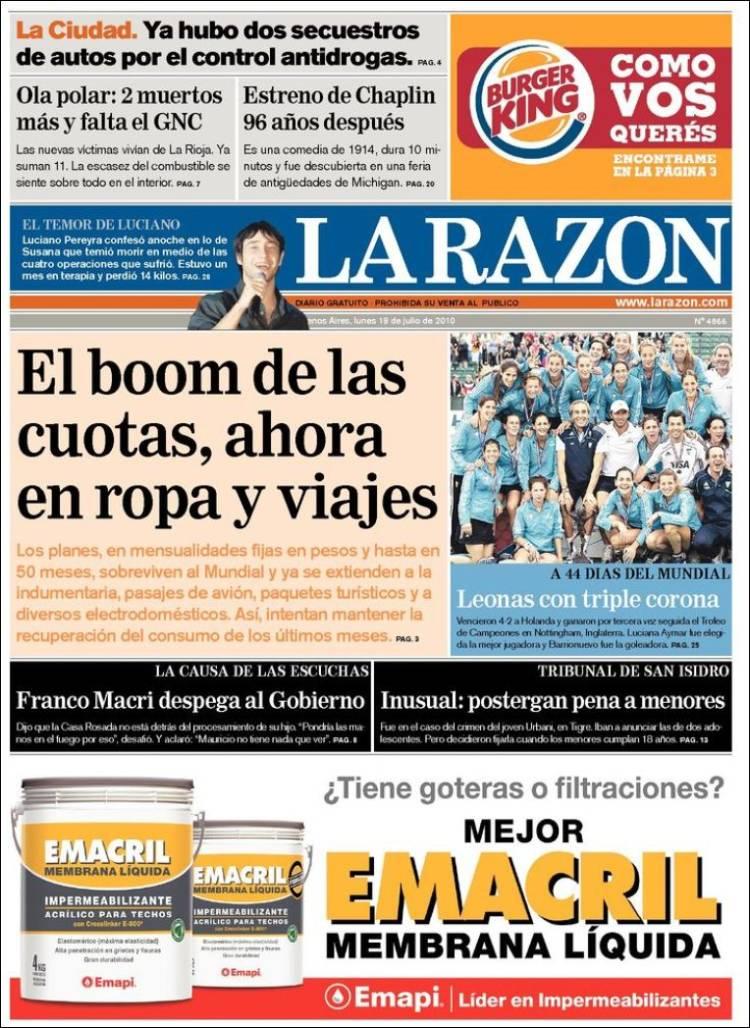 Portada de La Razón (Argentine)
