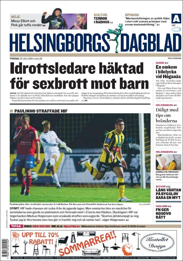 Newspaper Helsingborgs Dagblad (Sweden). Newspapers in Sweden ... 2168ec669027d