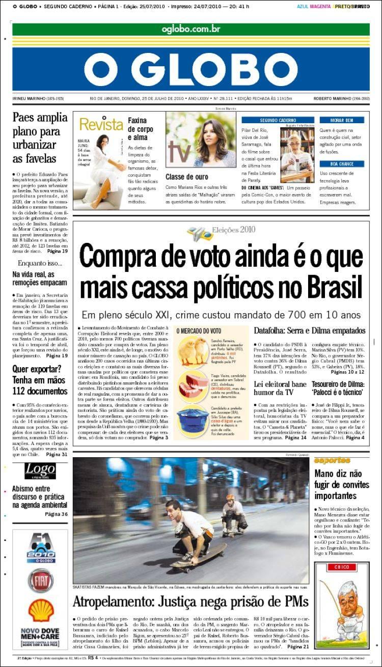 Newspaper o globo brasil newspapers in brasil sunday 39 s edition july 25 of 2010 - Oglo o ...