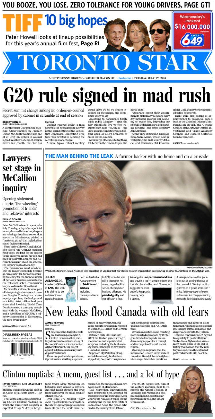 Newspaper The Toronto Star Canada Newspapers In Canada