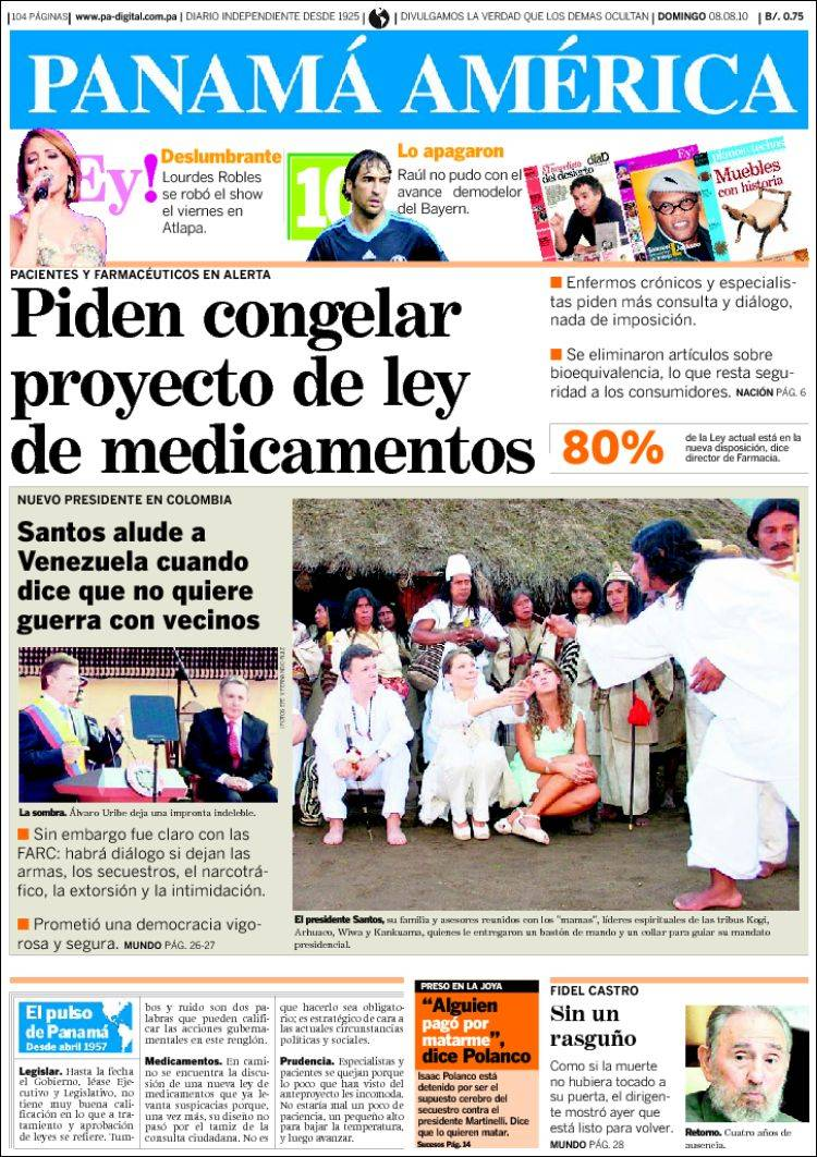 Newspaper El Panam Am Rica Panama Front Pages From Newspapers  # Muebles Lourdes