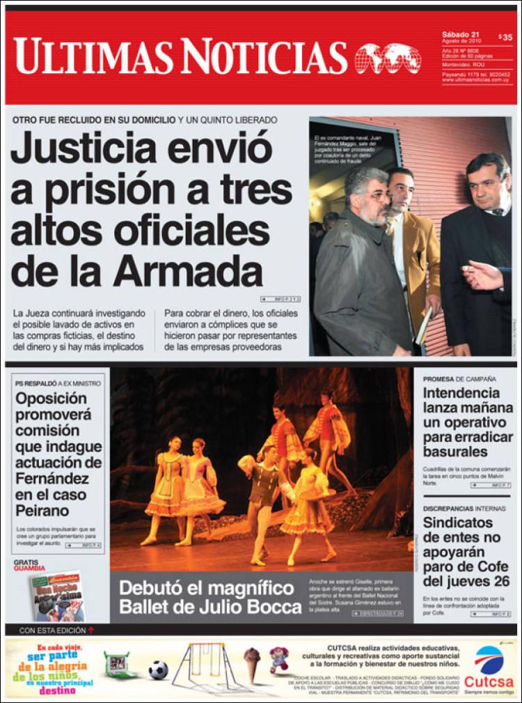 Portada de Últimas Noticias (uy)