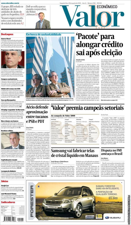 Portada de Valor Econômico (Brasil)