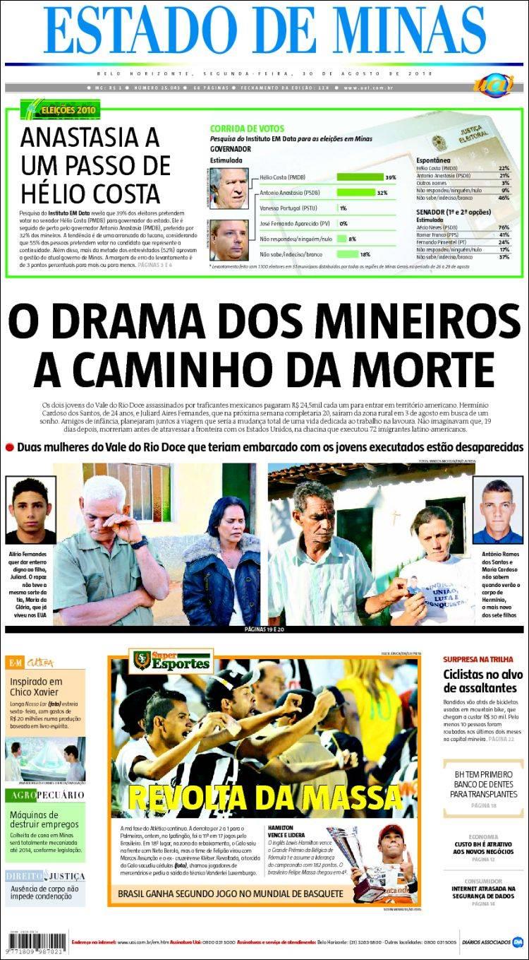 Portada de Jornal Estado de Minas (Brasil)