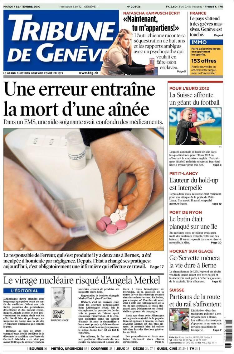 Portada Del Periódico La Tribune De Genève Suiza Todos
