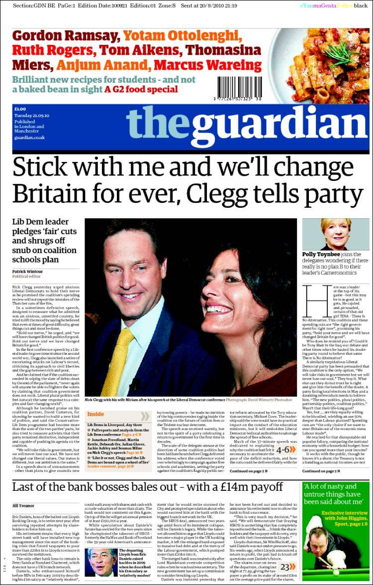 Newspaper The Guardian (United Kingdom). Front pages from ...