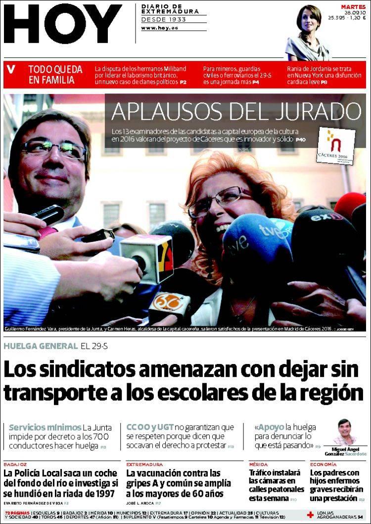 Portada del periódico Hoy - Badajoz (España). Todos los