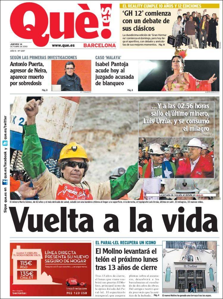 Portada Del Periódico Qué Barcelona España Todos Los