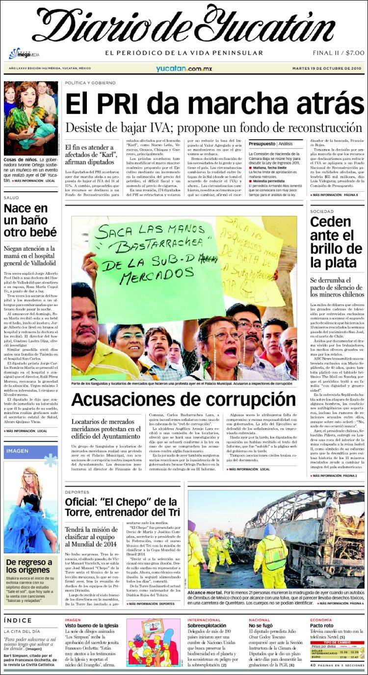 c12c721196 Portada del periódico Diario de Yucatán (México). Todos los ...