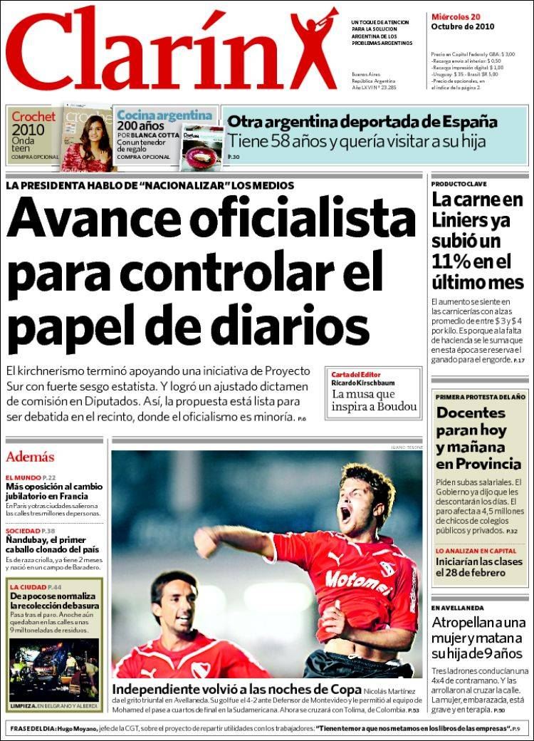 89cc89097 Newspaper Clarín (Argentina). Front pages from newspapers in ...
