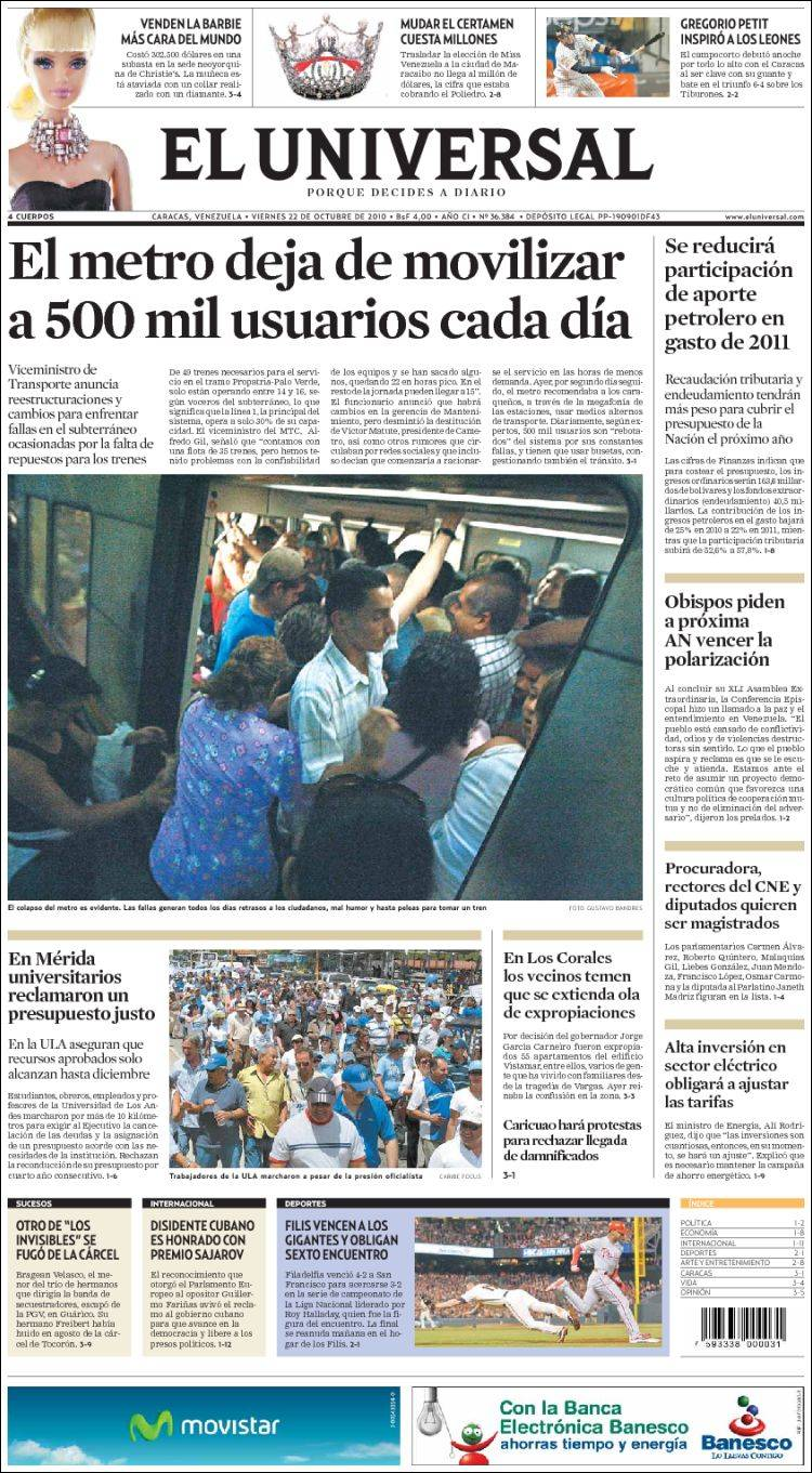 Newspaper Universal (Venezuela)  Front pages from newspapers