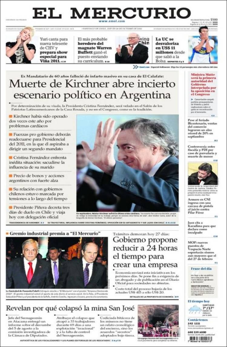 Muerte de Kirchner en tapas de los diarios del mundo...