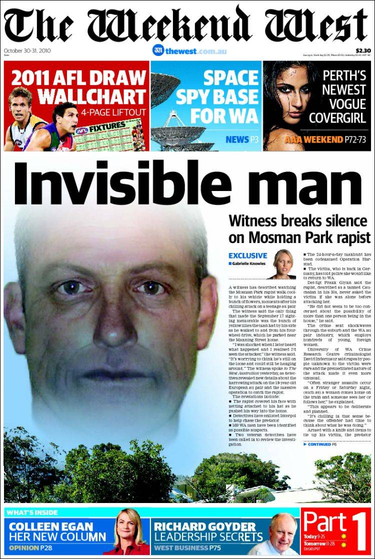 newspaper the west australian (australia). front pages from
