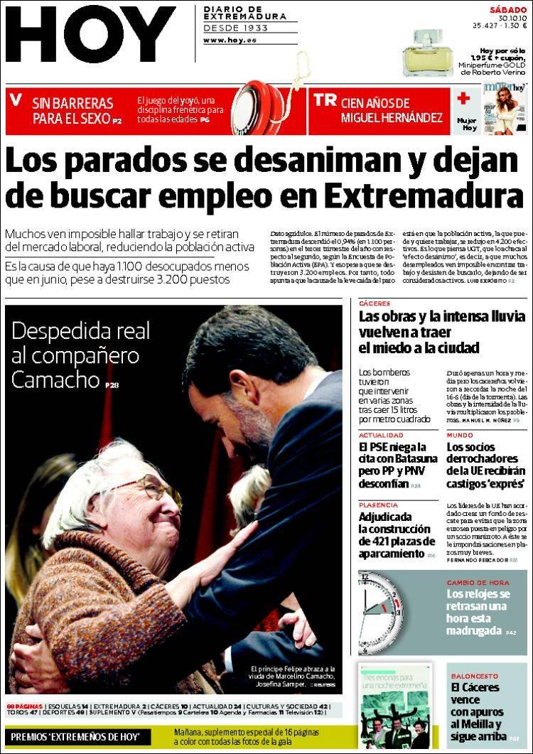 Portada del periódico Hoy - Caceres (España). Todos los