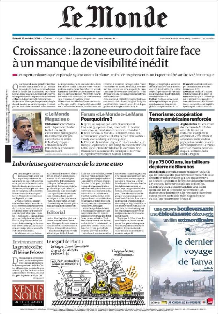 Newspaper Le Monde (France). Front pages from newspapers in France. Saturday's edition, October ...