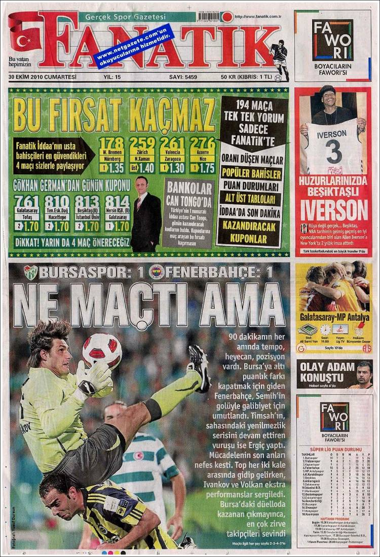 Portada de Fanatik (Turkey)