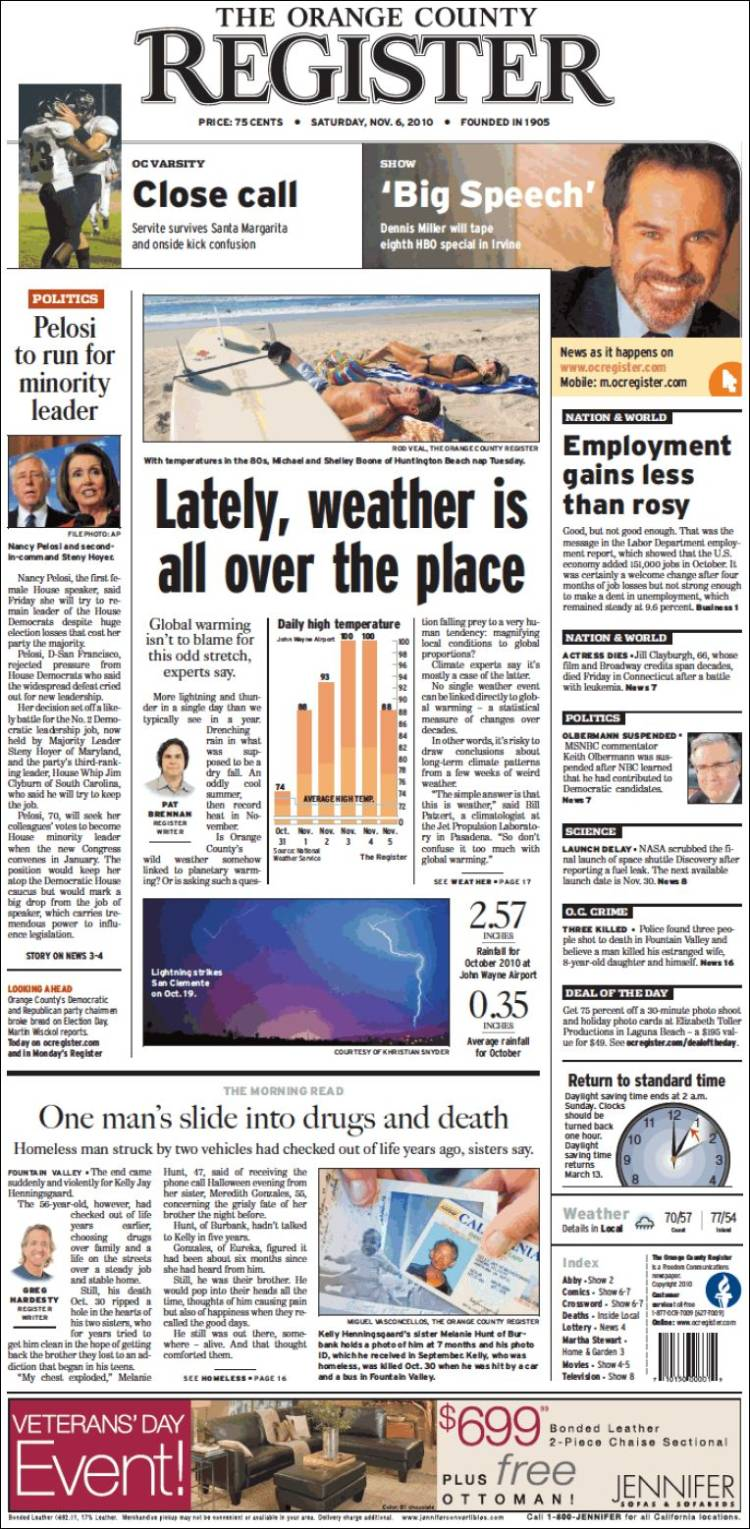 Newspaper The Orange County Register (USA). Front pages ...