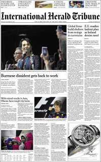 Newspaper International Herald Tribune (Europe). Front pages from newspapers in Europe. Monday's