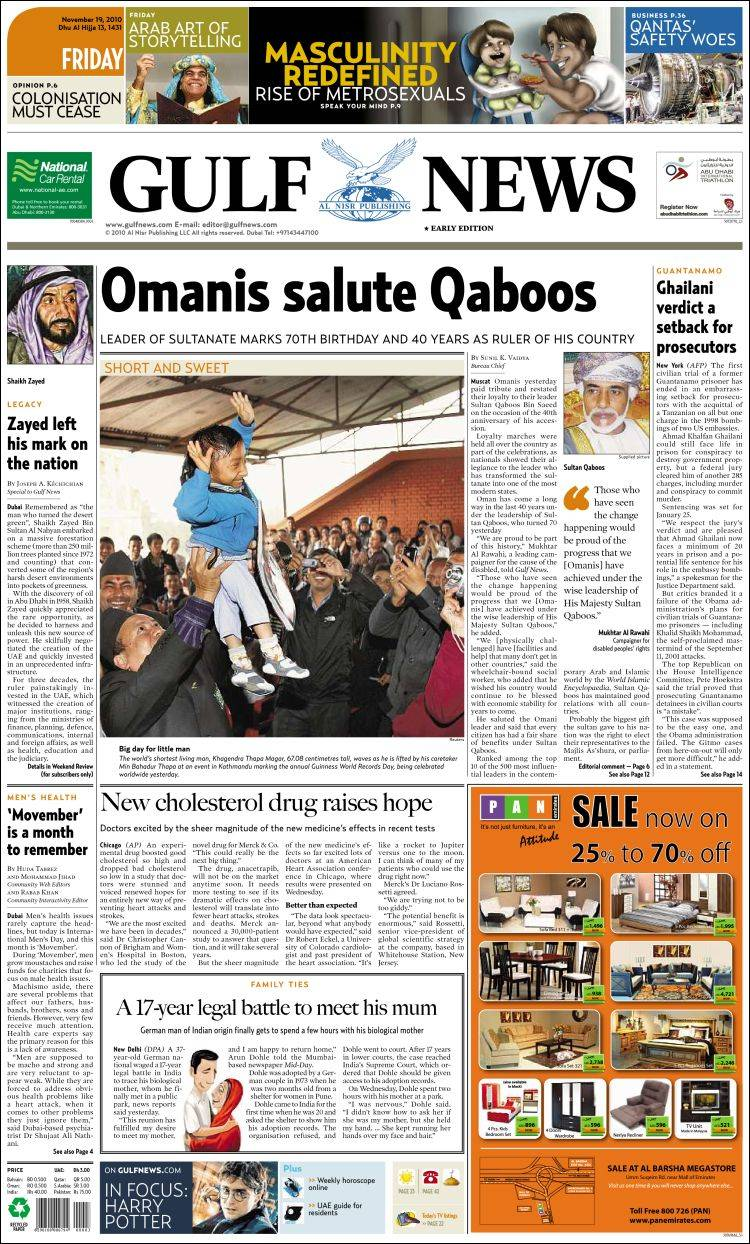newspaper gulf news asiapacific front pages from