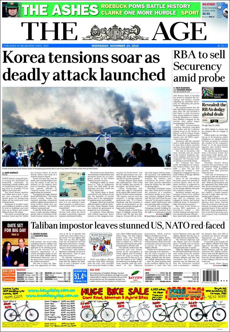 newspaper the age  australia   front pages from newspapers in australia  wednesday u0026 39 s edition