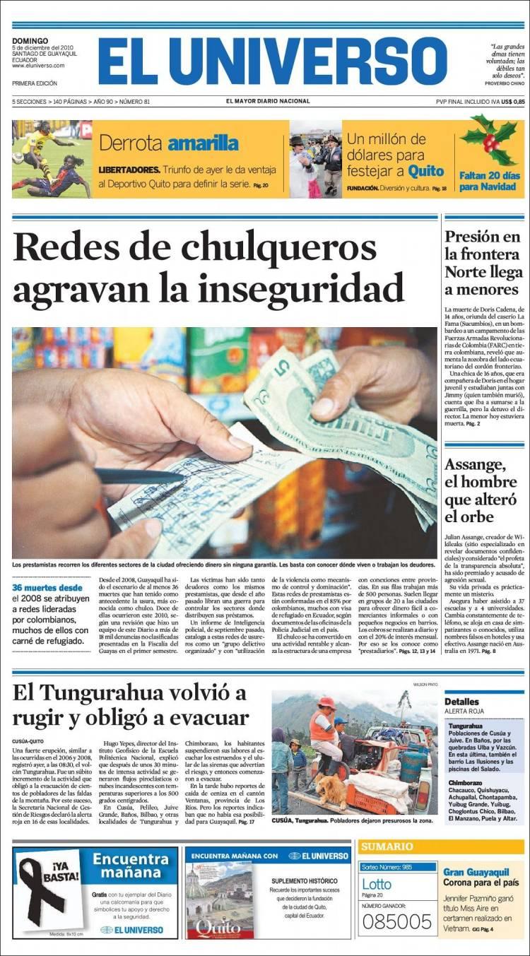 Portada de El Universo - Ecuador (Ecuador)
