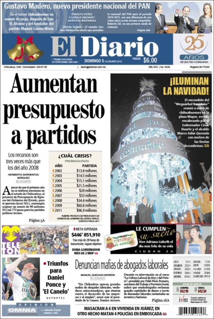 Portada de El Diario de Chihuahua (México)