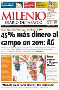 Portada de Milenio de Tabasco (México)