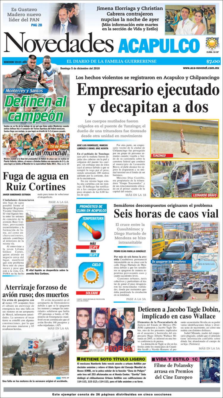 Portada de Novedades de Acapulco (México)