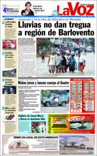 Portada de Diario Voz (Venezuela)