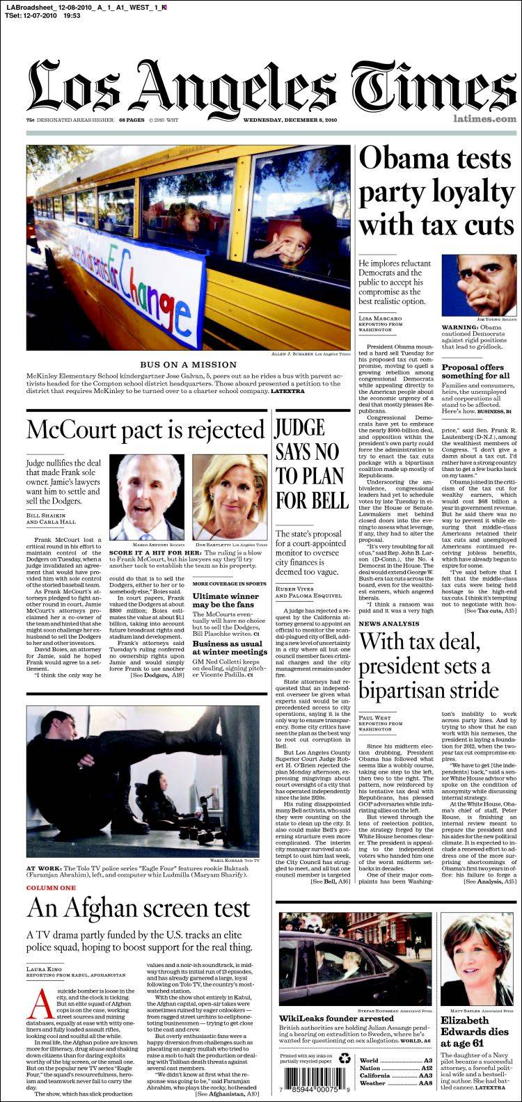 Newspaper Los Angeles Times (USA). Front pages from ...