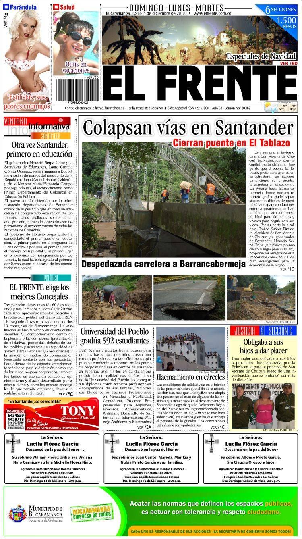Portada de El Frente (Colombia)