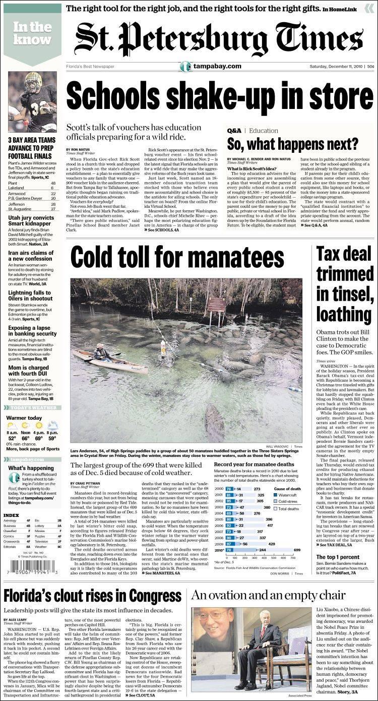 Portada de St. Petersburg Times (USA)