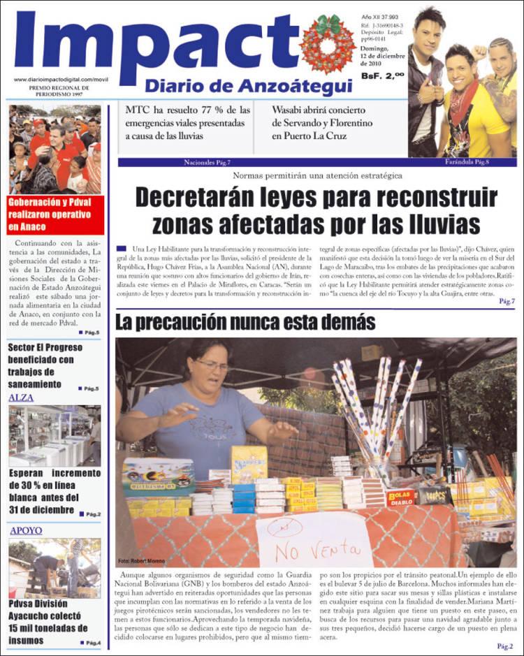 Portada de Diario Impacto (Venezuela)