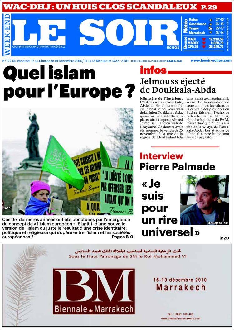 journal le soir echos maroc les unes des journaux de maroc dition du vendredi 17 de. Black Bedroom Furniture Sets. Home Design Ideas