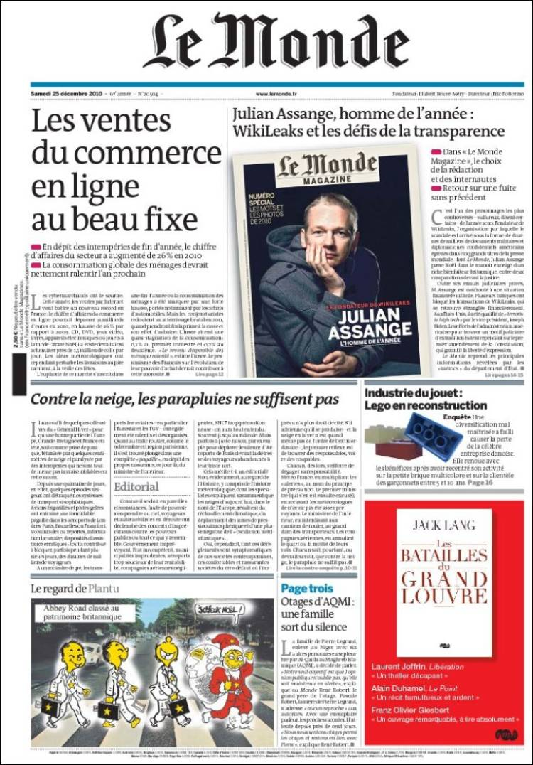 Newspaper Le Monde (France). Front pages from newspapers in France.