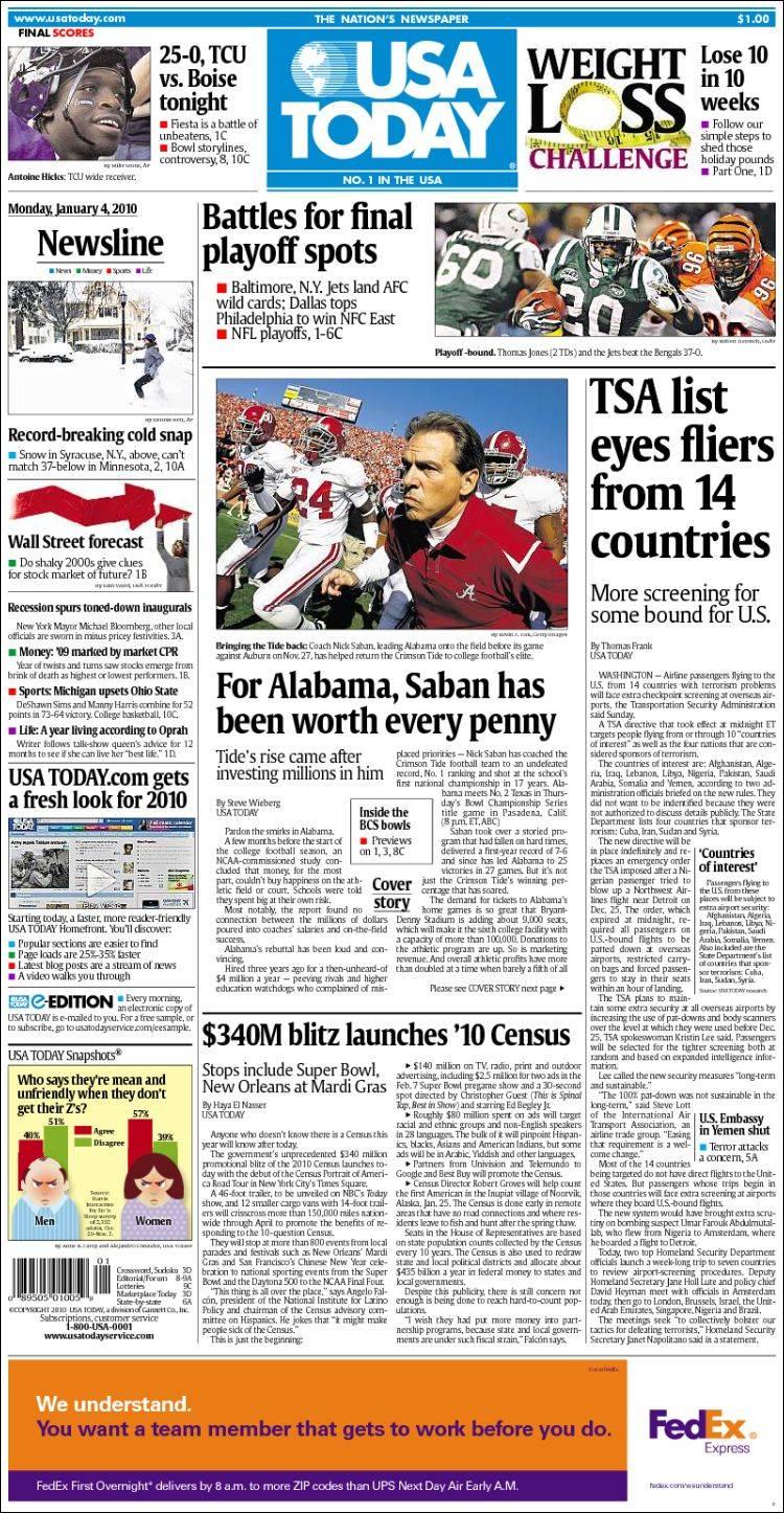 Newspaper USA Today (USA). Newspapers in USA. Tuesdays edition, April 12 of 2011. Kiosko.net