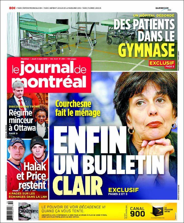 Journal Le Journal de Montréal (Canada). Les Unes des ...