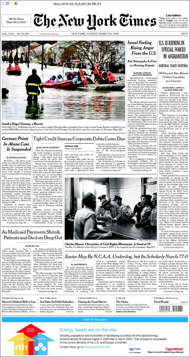 Newspaper New York Times (USA). Newspapers in USA. Tuesday