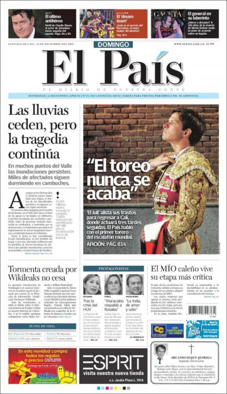 Newspaper El País - Cali (Colombia). Newspapers in Colombia. Sunday's  edition, December 12 of 2010. Kiosko.net